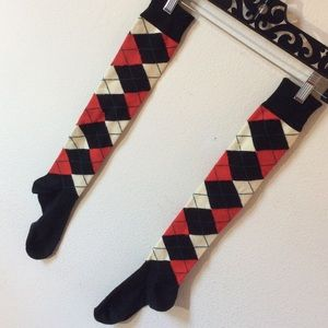 Hot Topic Accessories - Thigh High Argyle Socks Red & Black School Girl